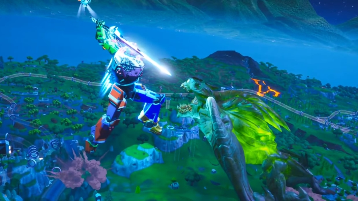 Epic Battle Between Monster And Giant Mech Armor On Fortnite: Who Wins The Fight?