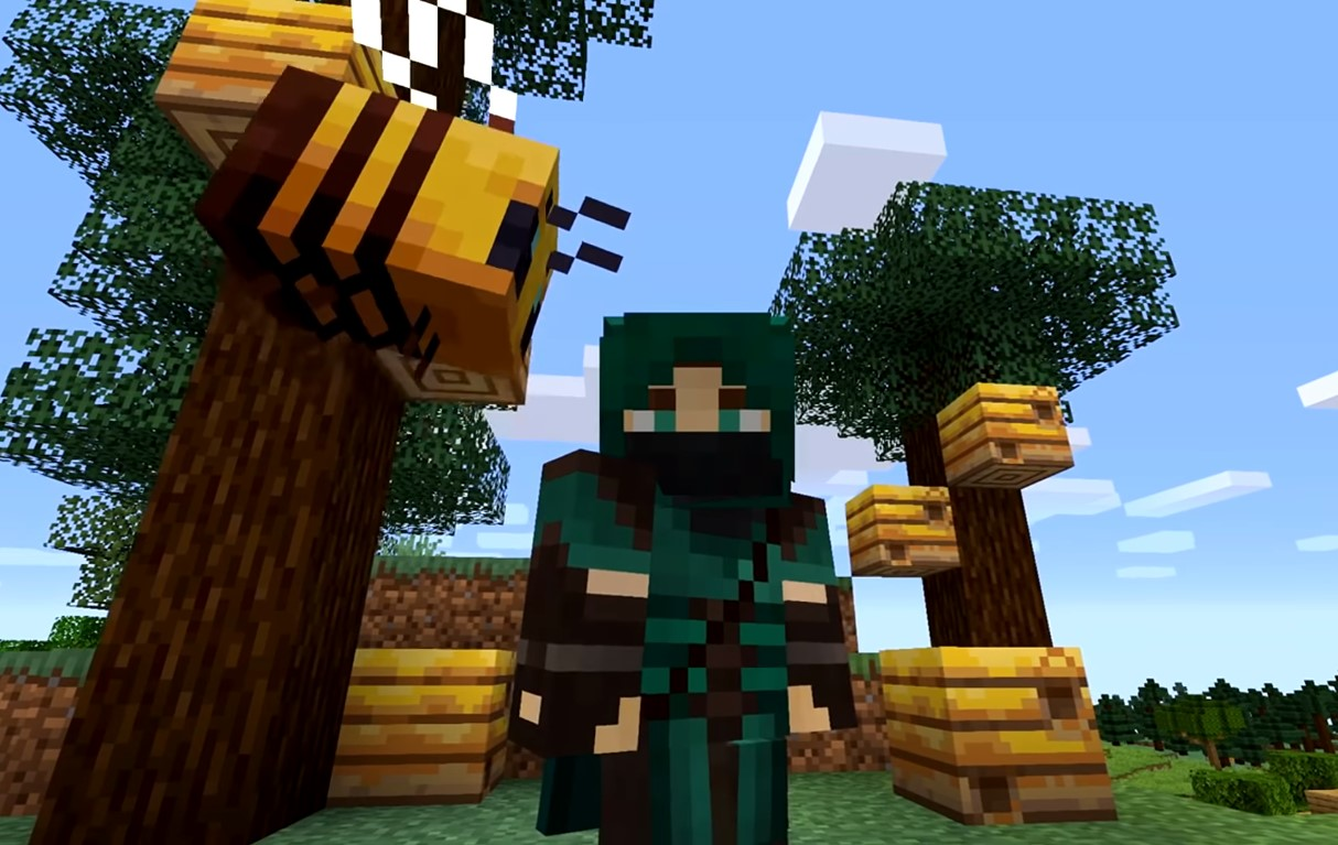New Minecraft Mod Allows Players To Ride A Bumble Bee Using A Flower On A Stick