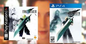 A side by side comparison of 1997's Final Fantasy VII Box Art next to the official art revealed for 2020's Final Fantasy VII Remake