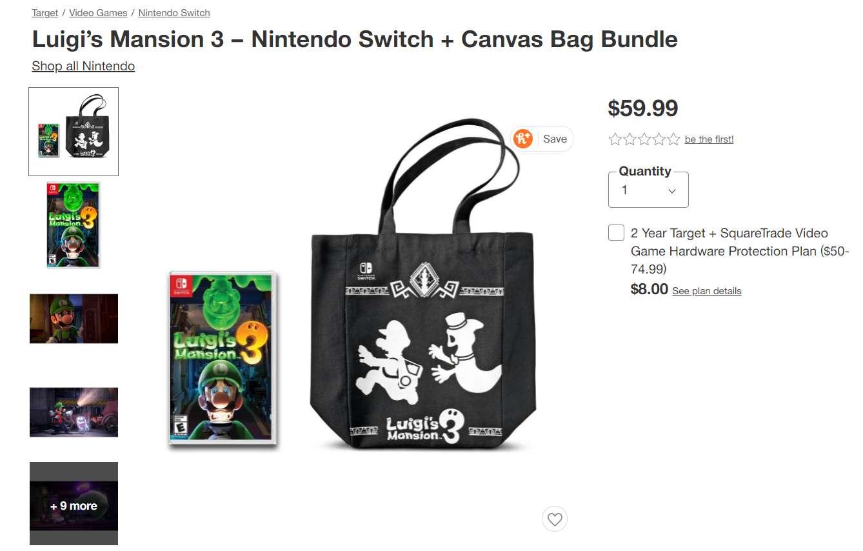 Pre-Order Tote Bag for Luigi's Mansion at Target Stores
