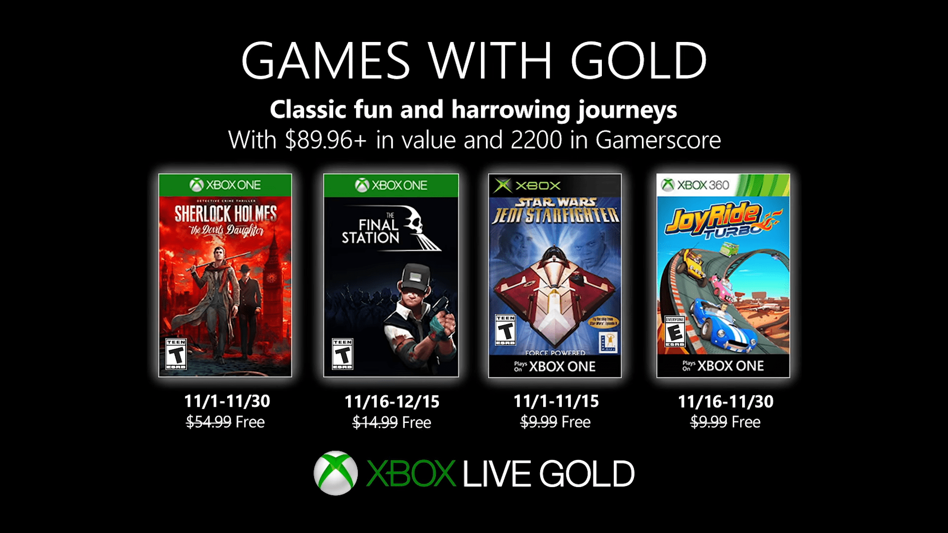 The November Xbox Live Games With Gold Line-Up Has Been Revealed, Featuring An Odd Assortment Of Games