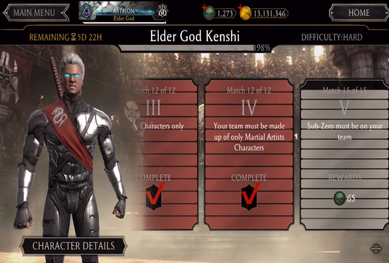 Mortal Kombat Mobile Update 2.4.1 Introduces The Elder God Kenshi Tower And Extends Triborg Sub Zero