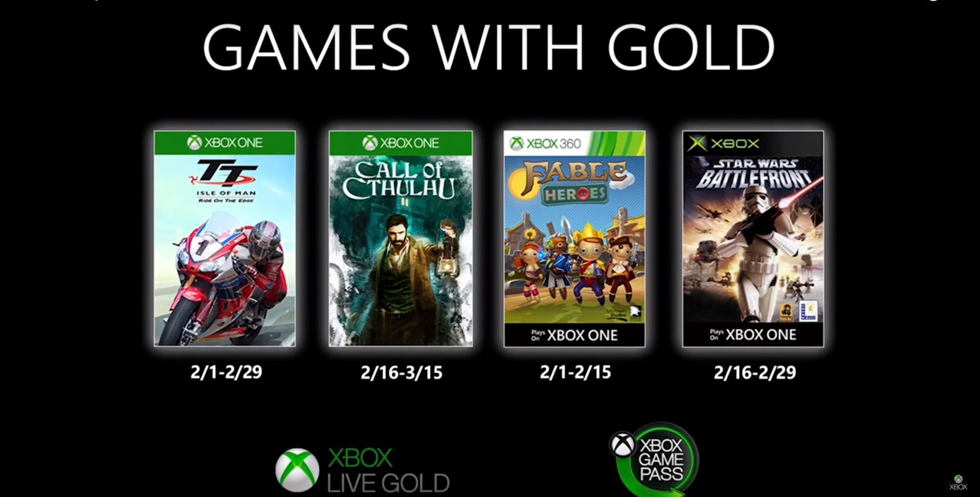 Xbox Announces Four Free Games In February For Games With Gold Service