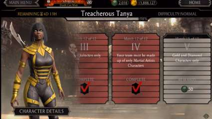 Treacherous Tanya Schemes Her Way Into A Weekly Tower In Mortal Kombat Mobile