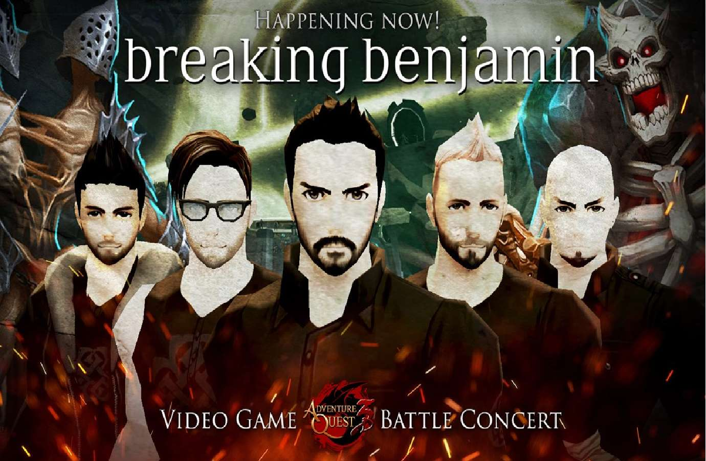 Breaking Benjamin Battle Concert Begins In AdventureQuest 3D And Worlds Which Will Last Until March 8th