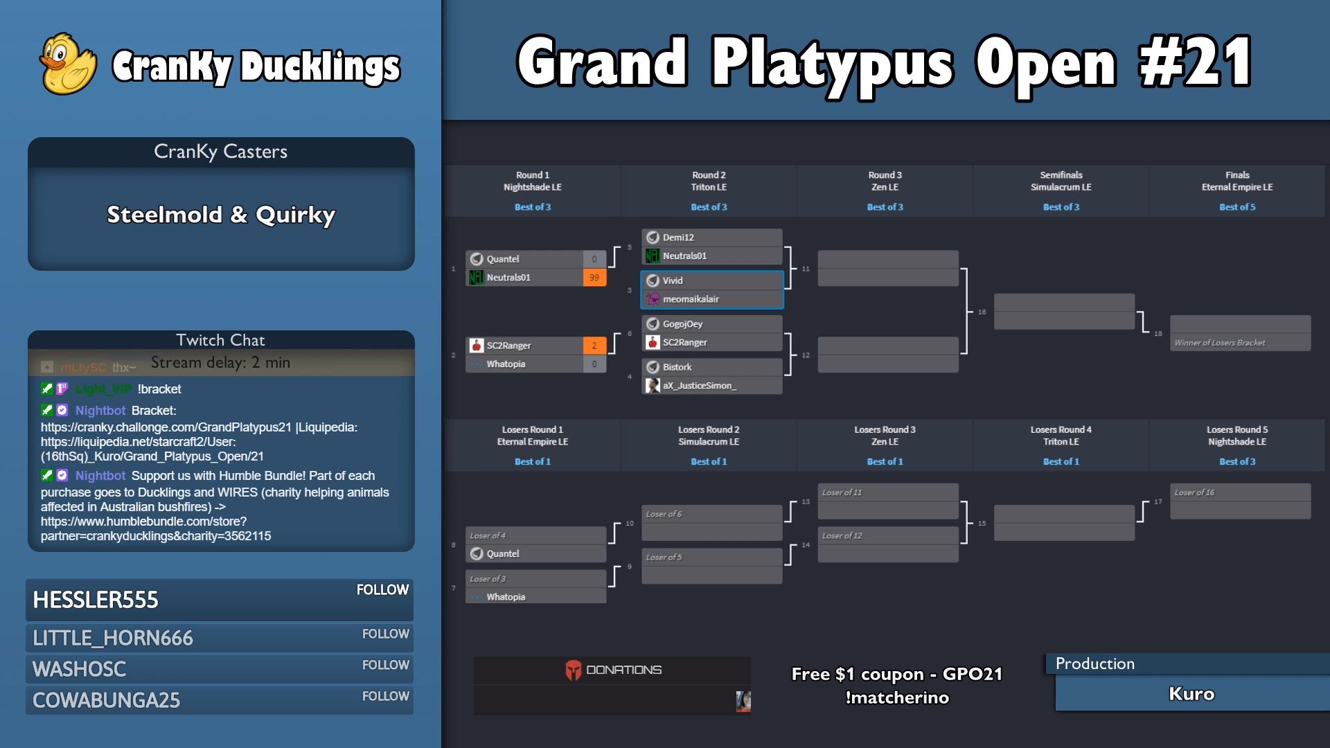 Cranky_Ducklings' Grand Platypus Open #21 StarCraft Tournament Has Begun!