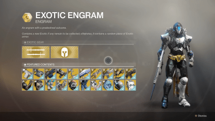Destiny 2 Agent Of The Nine Exotic Weapon And Armor Inventory For May 1st Through May 5th