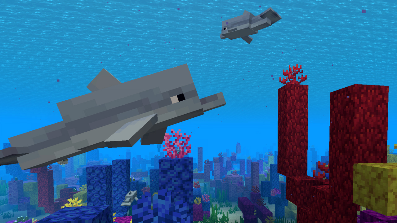 Minecraft's Dolphins May Just Be A Perfect Pet: They Allow The Player To Swim Faster In Water And Are Extremely Playful!