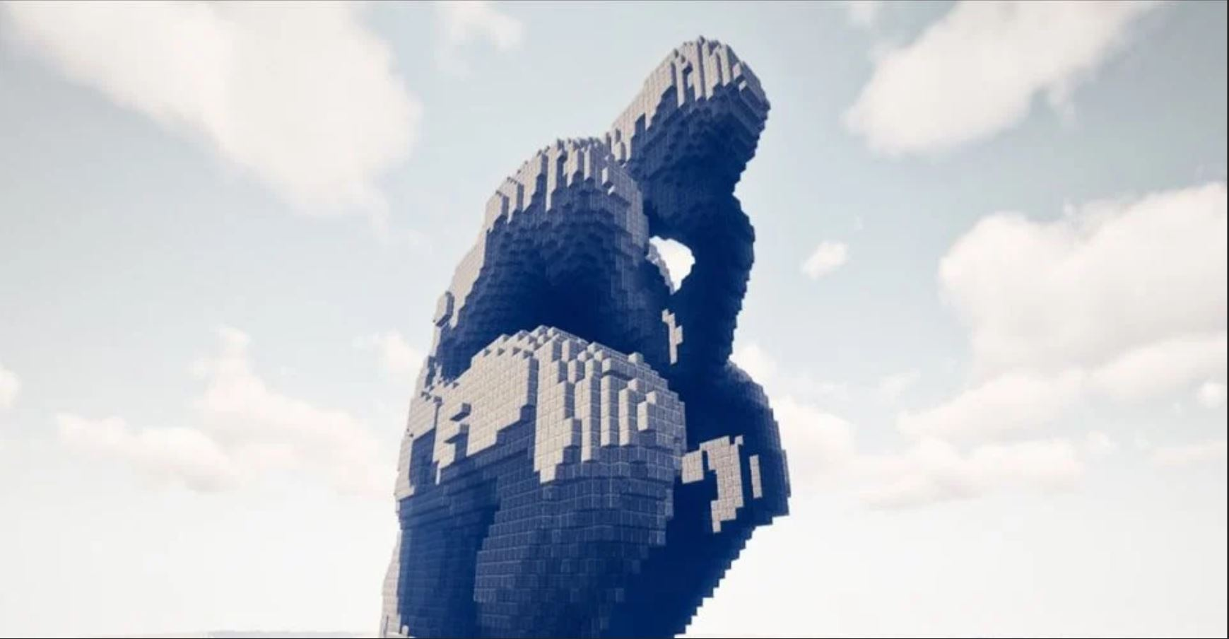 Talented Minecraft Player Recreates The Thinker From A Massive Stone Blocks
