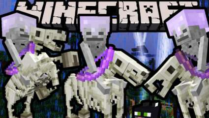 Minecraft Mobs Explored: Skeleton Horsemen, The Skeleton Comes Equipped with Enchanted Bow and Enchanted Helmet