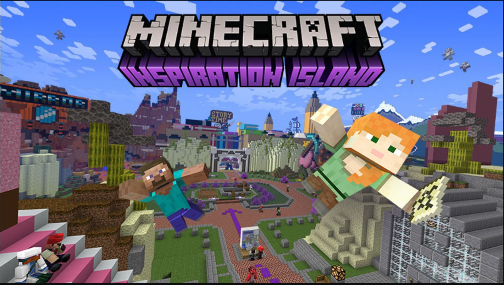 Minecraft Marketplace Explored: Inspiration Island, A Floating Theme Park With Creative Challenges!