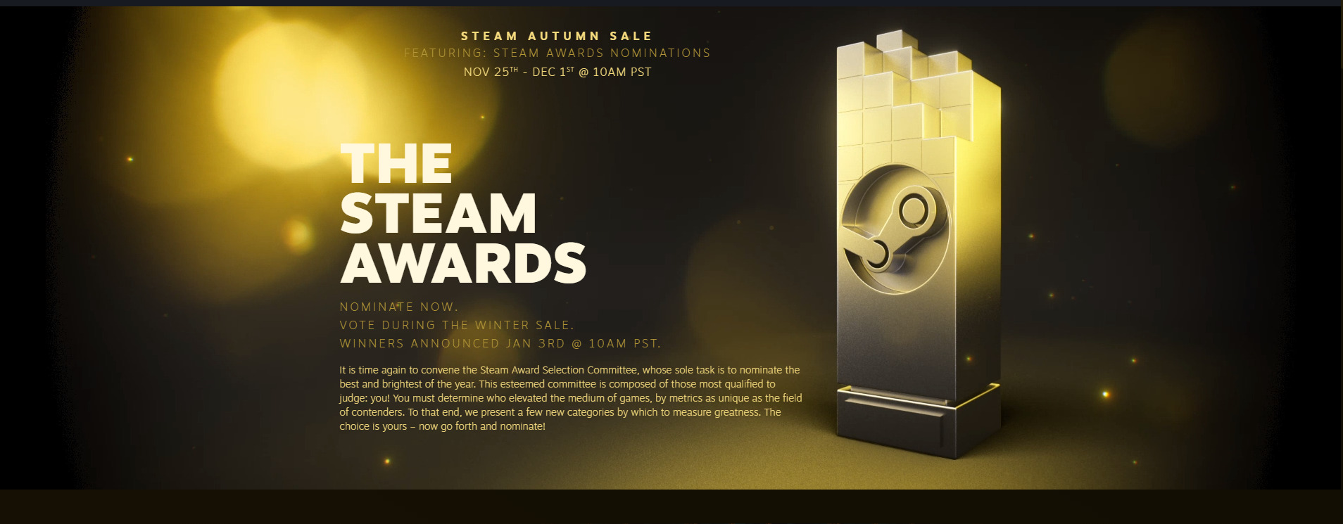 The 2020 Steam Awards Are Ready For Their Nomination With The Autumn Steam Sale
