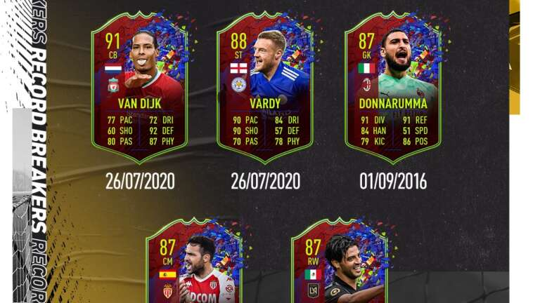 5 New Record Breaker Promo Cards Added To FIFA 21, Including A 91 Rated Van Dijk