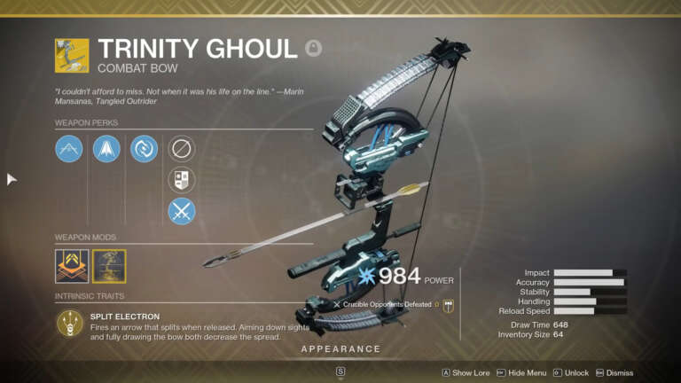 Destiny 2: Xur Location And Inventory For Weekend Of December 11th - Trinity Ghoul Exotic Bow For Sale